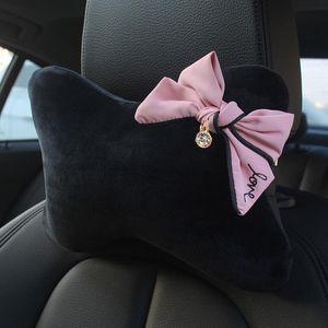 Cute Bowknot Universal Car Seat Headrest Neck Pillow Rhinestones Supplies Auto Waist Support Car Accessories Interior for Women