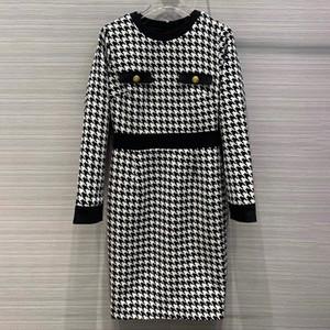 Designer Houndstooth Dress for Women High Quality England Style O-Neck Long Sleeve Plaid Knee-Length Dress for Lady 2020