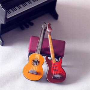 Simulation Electric Guitar 1:12 Dollhouse Miniature Doll house Accessories Kids Play Toys Wood Furniture Craft Home Decor