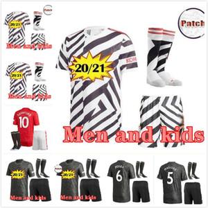 adult kids kit 20 21 FC manchester sancho POGBA B. FERNANDES united soccer jersey 2020 21 LINGARD LUKAKU RASHFORD MARTIAL UtD football shirt