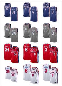 Jugendliche Herren WomensPhiladelphia76er.3 AllenIverson 34 Charles Barkley 6 Julius Ernting benutzerdefinierte Basketball-Trikots blau rot