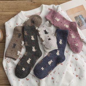 Yarn Wool Socks Keep Warm Breathable Casual Winter Cartoons Cats Printing Medium Sock Women Comfortable 3 6yg M2