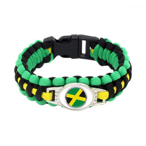 10PC Jamaica Flag Paracord Survival Outdoor Camping Bracelets Gifts for Women & Men Girls Friendship Rope 550 7 Bracelet Jewelry1
