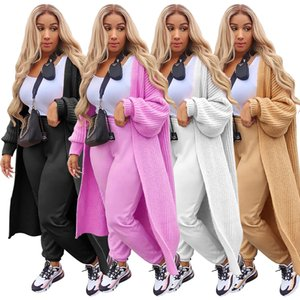 Womens Long Sleeve Open Front Cardigan Maxi Long Side Split Solid Color Knitted Sweater Irregular Loose Coat Ladies