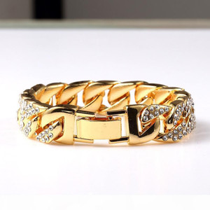K Exaggerated Heavy Extra Coarse 24k Solid Gold Miami Cuban Link Shiny Full Diamante Bracelet Hip Hop Bling Jewelry Hipster Men Gold Wr