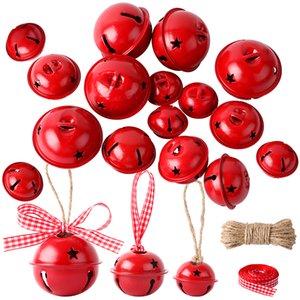 30Pcs Jingle Bells Christmas Tree Hanging Decoration Metal Loose Beads Pet Pendants DIY Crafts Accessories with Hemp Rope Ribbon Y1125