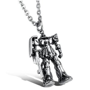 Robot Pendant Long Necklace High Quality for Women Men Best Friend Ship Gift Sliver Jewelry