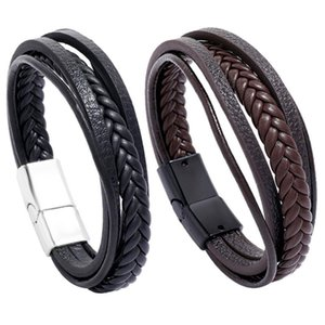 New Retro Multilayer Leather Wrap Bracelets Simple Fashion Mens Cuff Bangle Braided Wristbands Jewelry Christmas gift