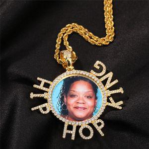 Позолоченные Bling CZ Пользовательские названия Пользовательские фото Медальоны Подвеска Ожерелье с круглосуточной веревочной цепью для мужчин Женщины Хип-хоп Ювелирные Изделия