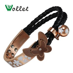 Wollet Jewelry 99.999% Germanium Stainless Steel Magnetic Bracelet for Women Rose Gold Butterfly Health Healing Energy