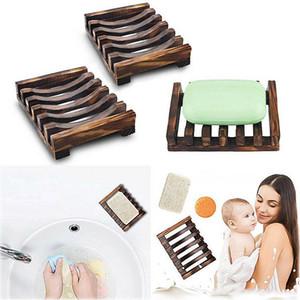 2 estilos de madera natural jabón de bambú plato bandeja de bandeja de almacenamiento jabón de estante de la placa de estante para baño placa de baño baño baño