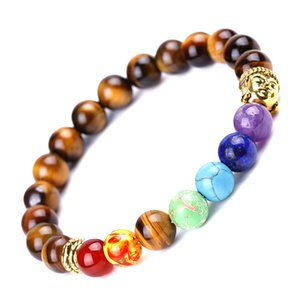 8mm Tiger Eye 7 Chakra Bracelet Reiki Healing Bracelets For Women Men Fashion Jewelry