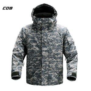 CQB Açık Spor Taktik Kamp 2-piece Set Kış erkek Kayak Giysileri Rüzgar Geçirmez Sıcak Ceket Hiking Avcılık Için Q1201