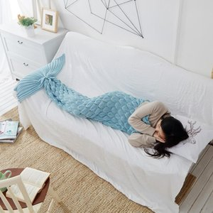 Colorful Mermaid Tail Blanket Crochet Mermaid Blanket For Adult Super Soft All Seasons Sleeping Knitted Blankets