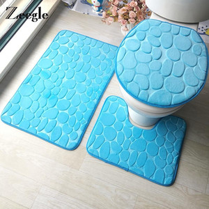 Zeegle 3D Heart Printed Bathroom Carpet 3pieces Microfiber Bath Mats Set Anti-slip Toilet Rugs Washable Toilet Seat Cover