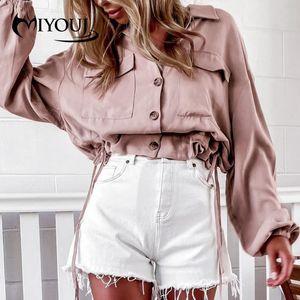 Miyouj Simple Castral Casual Cardigan Loose Cardigan 2020 Manteau surdimensionné Vintage Femmes élégantes Chlothes Couleur Solid Couleur Blouses Chemises