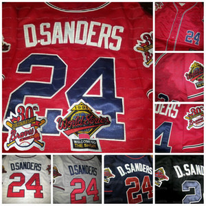 24 Deion Sanders Çift Yama Altanta 1995 Wrlad Serisi Özel Beyzbol Forması Siyah Kırmızı Beyaz Gri