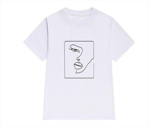 New 2020 face abstract simple Women tshirt Cotton Casual Funny t shirt Gift For Lady Yong Girl Top Tee Drop Ship