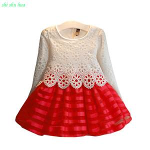 Girls Clothes Long-sleeved Knit Hook Flower Dress Mesh Yarn Hem Vestido Infantil 2-7 Age Children Quality Clothing 2019Hot Sale Z1127