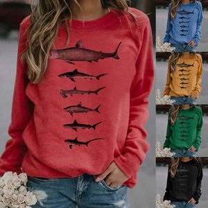 Women's Casual Print Sweatshirts Thermal Crewneck Long Sleeve T-Shirts Loose Com A1112