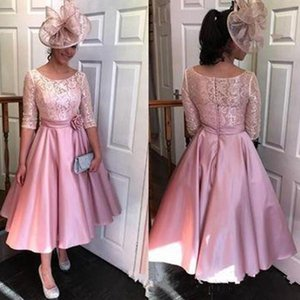Chic Tea Length Short A-Line Mother Of The Bride Dresses Half Sleeve Lace Evening Gowns Wedding Guest Mother's Dresses Formal Party Gowns