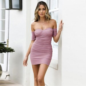 Romexp New Summer Sexy Bra Collar Mesh Pleated Dress Club Party Elegant Dress Short Quilt Dresses 20201