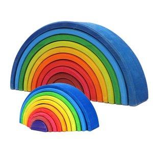 12pcs Big Size 35.5 cm Giocattoli del bambino giocattoli di legno Rainbow Stacker Nidificazione Puzzle Blocks Montessori Giocattoli educativi per bambini Giocattoli per bambini