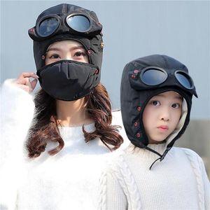 2020 New Fashion Warm Cap Winter Men Original Design Winter Hats For Women Kids Waterproof Hood Hat With Glasses Cool
