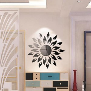 3D Mirror Wall Sticker Ceiling Living Room Bedroom Acrylic Mural Wall Decals Modern Home Decor Geometric Waist Heart Sun Xlejo