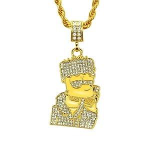 2020 designer new diamond necklace hip hop cartoon character tide brand foreign trade necklace pendant oil painting jewelry