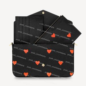 Jogar Jogar Felicie vendido com caixa de desenhista de caixa com cadeia e titular do cartão 3 pcs Set Poker Imprimir embreagem para bolsas de bolsa das mulheres