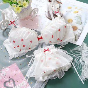 Japanese Sweet Lolita Women's Cute Love Bowknot Mesh Bra & Panties Set Lingerie Set Sexy Young Girl Push Up Bra Underwear Set C1212