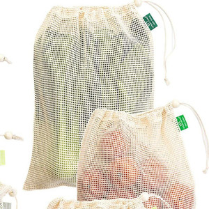 Pure Cotton Net Shopping Bag Portable Food Vegetable Fruit Bags Hand Totes Home Storage Pouch Drawstring Package High Quality 4 1fm L2