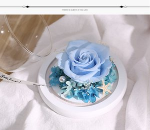 Valentines Day Gifts Glass Cover Preserved Flower Rose Flower Gifts Box Decoration Artificial Flowers 12*12cm DDD4253