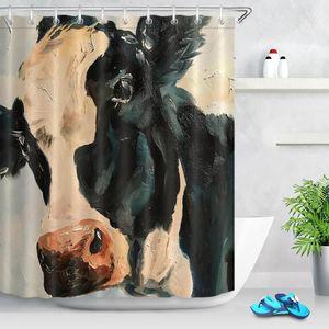 Farm Cow Pattern Shower Curtain Farmhouse Animal Painting Art Bathroom Decor Set Bath Curtains Waterproof Polyester with Hooks