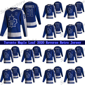 Toronto Maple Leafs 2021 Ters Retro Jersey 91 John Tavares 34 Auston Matthew 16 Marner 97 Joe Thornton 24 Simmonds Hokey Formaları