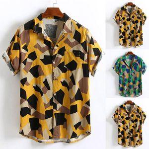 European yard Mens Printed Hawaiian Cotton Linen Loose Short Sleeve Casual Buttons T shirt40 Drop shipping