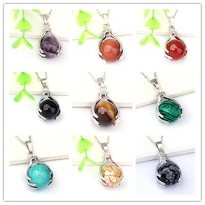 Trendy-beads Silver Plated Tiger Eye Stone Hand Shape Pendant Black Agates Necklace Link Chain Jewelry