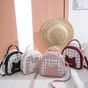 2020 summer and autumn new korean cat ear pattern lattice semicircle bag ladies one-shoulder diagonal handbag