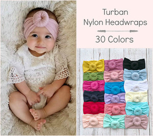 Baby Solid Turban 30 Colors Donuts Nylon Headwraps Bohemian Style Infant Baby Round Nylon Soft Wide Hair Band Kids Headbands Ty20