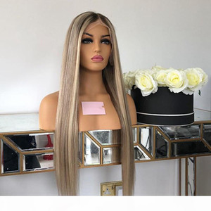 Blonde Human Hair 4x4 Silk Top Lace Front Wigs Transparent Lace Silky Straight Highlight Human Hair Full Wigs for Women