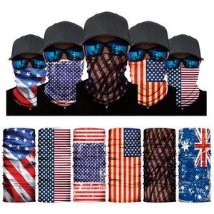 America-Flagge Druck Stirnband Bandanas Schutzmaske NEC Magic Cycling Bandana Headwear Headscarf Party Masken Liefert DHC4396