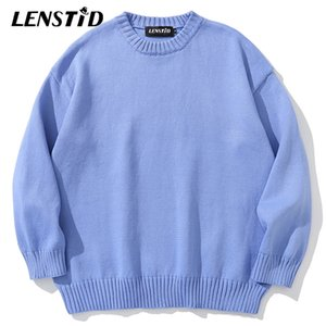 LENSTID 11 Colors Solid Knitted Jumper Sweaters Streetwear Harajuku Autumn Oversize Pullovers Fashion Casual Men Clothing 201125
