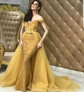 2021 New Sexy Gold Mermaid Evening Dresses Off Shoulder Lace Appliques Beaded Sequins Overskirts Sweep Train Plus Size Prom Evening Gowns
