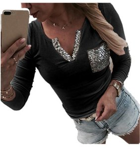 Ladies Sequined V-neck T-shirts Fashion Trend Long Sleeve Pocket Short Tees Tops Designer Female Autumn New Casual Slim Short Tshirt