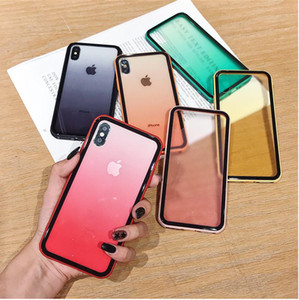 Gradient Tempered Glass Case For iphone 11 XS Max XR X XS 6 6s 7 8 Plus Colorful Shockproof Phone Cover Protect Shell Cases