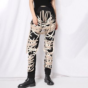 Cross Bandage Pants For Women High Waist Full Length Plus Size Casual Black Trousers Female 2020 Autumn New Style