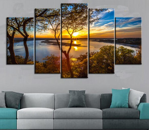 2020 wall art Canvas 5 Pieces Frameless Photo Prints Lake scenery Wall Decorations Picture Canvas Wall Paintings