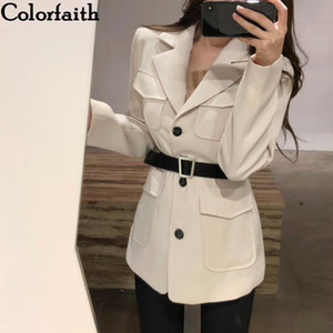 Colorfaith New 2020 Autumn Winter Women Blazers Jackets With Belt Pockets Fashionable Office Lady Korean Style Solid JK713