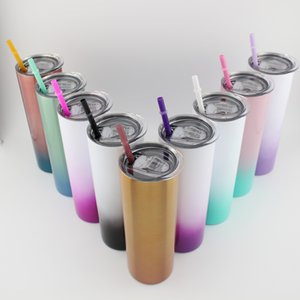20 oz stainless steel gradient vacuum insulated wine glass stainless steel fine straight lean beer coffee cup with lid and straw